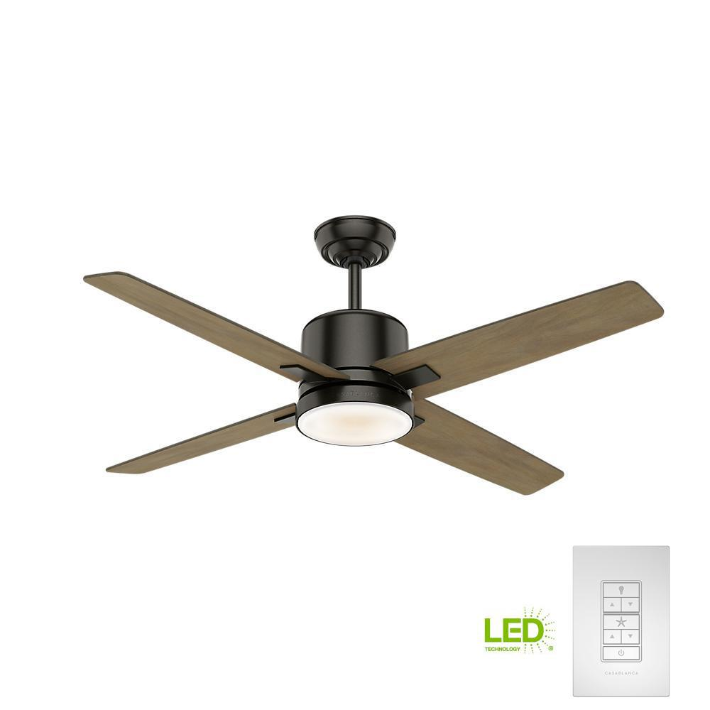 Casablanca Axial 52 in. LED Indoor Noble Bronze Ceiling Fan with Light and Wall Control
