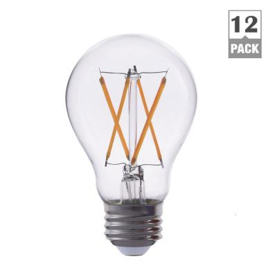 TriGlow 60-Watt Equivalent A19 Dimmable Filament Glass LED Light Bulb Warm White 2700K (12-Pack)