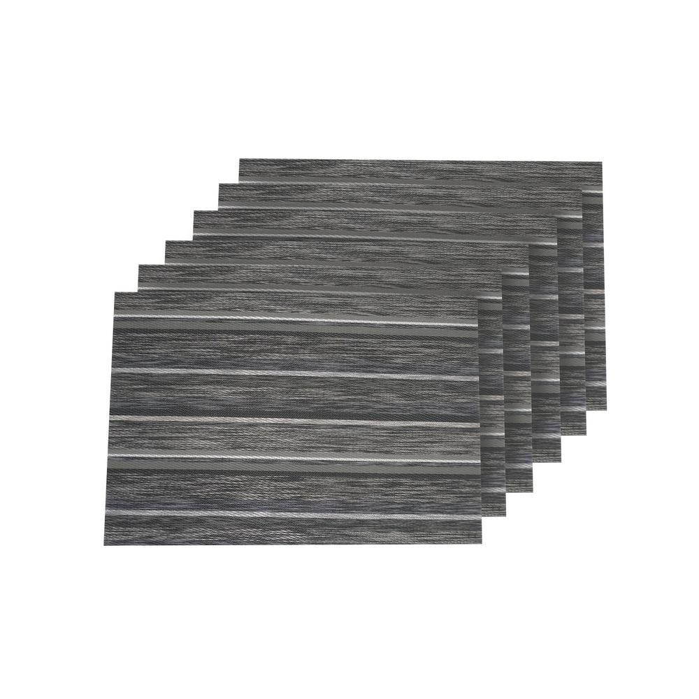 Multistripes Silver Woven Textilene Reversible Rectangle Placemats (Set of 6)