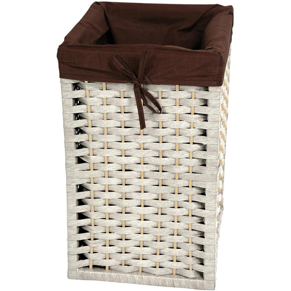 White Natural Fiber Basket Trunk