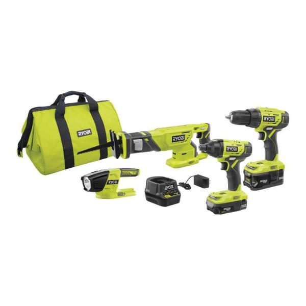 RYOBI 18-Volt ONE+ Lithium-Ion Cordless 4-Tool Combo Kit with (2) Batteries, 18-Volt Charger, and Bag