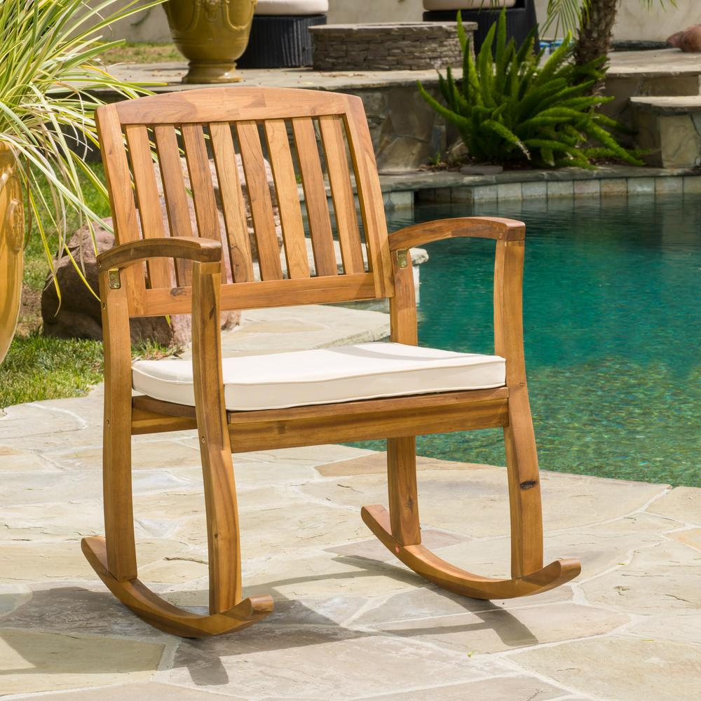 Selma Teak Finish Wood Outdoor Rocking Chair With Cream Cushion
