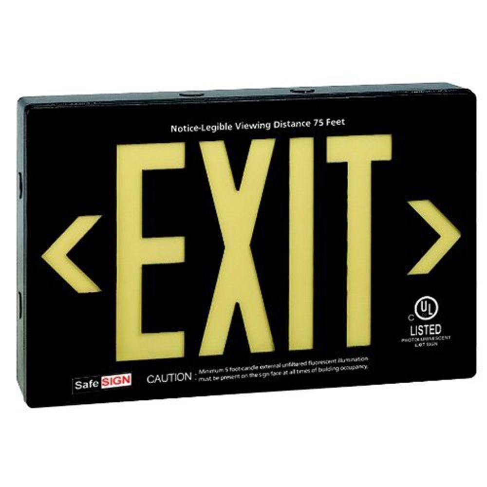 Illumine 2-Light Black Self Luminescent Exit Sign with Yellow Letters