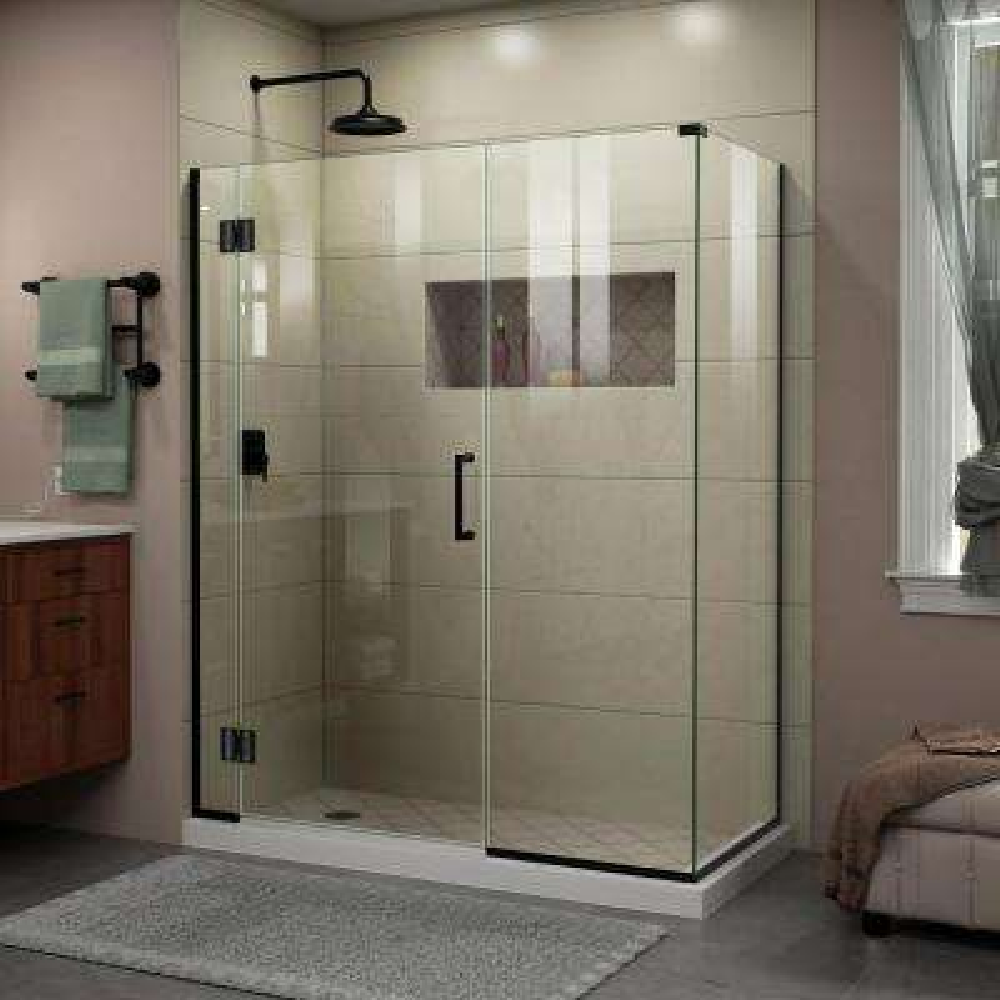 Unidoor-X 59.5 in. x 72 in. Frameless Corner Hinge Shower Enclosure in Satin Black