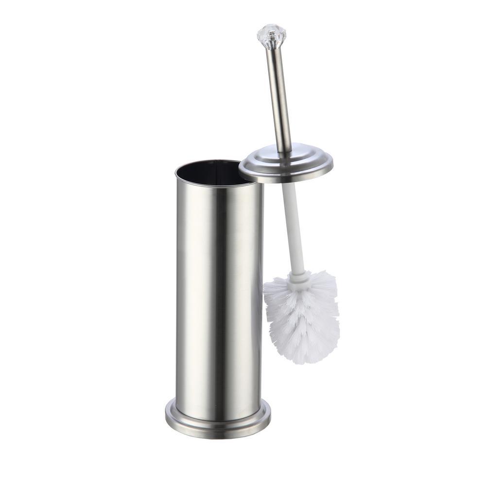 Toilet Brush Set Chrome Toilet Brush Holder for Tall Toilet Bowl Lid Great Clean