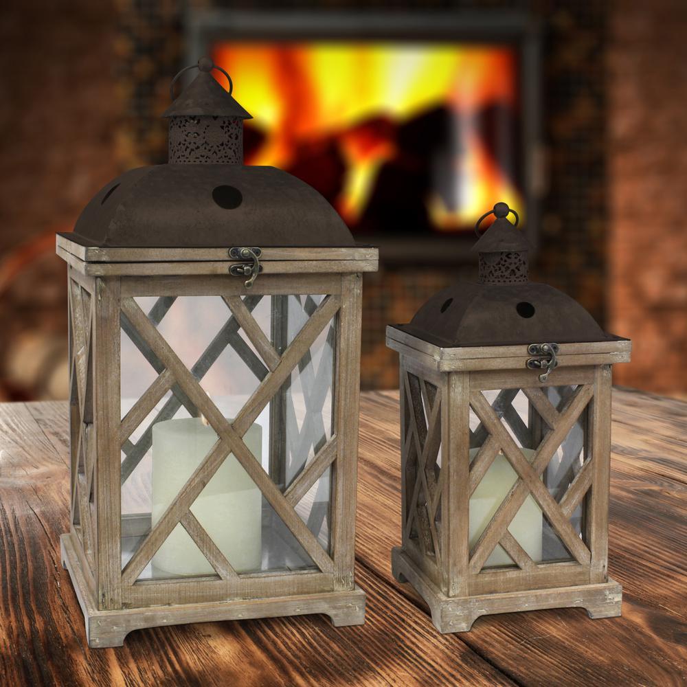 Brown Rustic Wood and Metal Candle Lanterns (Set of 2)
