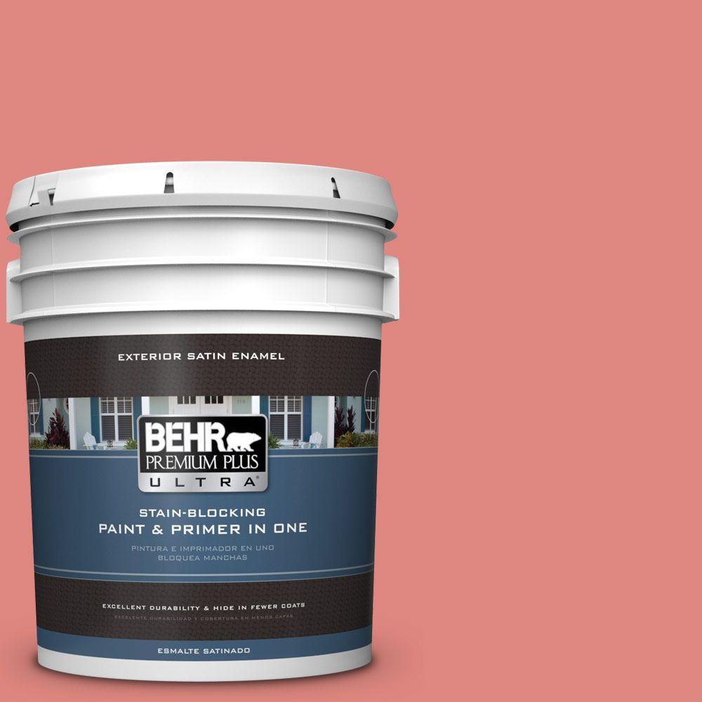 BEHR Premium Plus Ultra 5-gal. #PPU1-4 Wild Watermelon Satin Enamel Exterior Paint