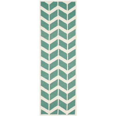 Cambridge Teal/Ivory 3 ft. x 8 ft. Runner Rug