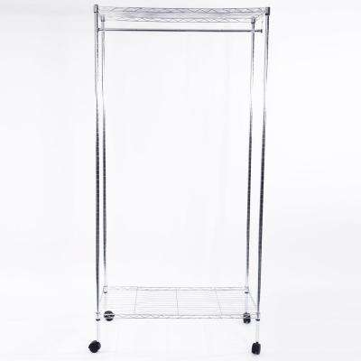 35 in. x 71 in. Iron Silver Garment Rack