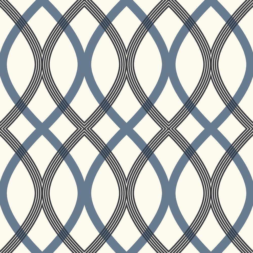 Contour Blue Geometric Lattice Wallpaper