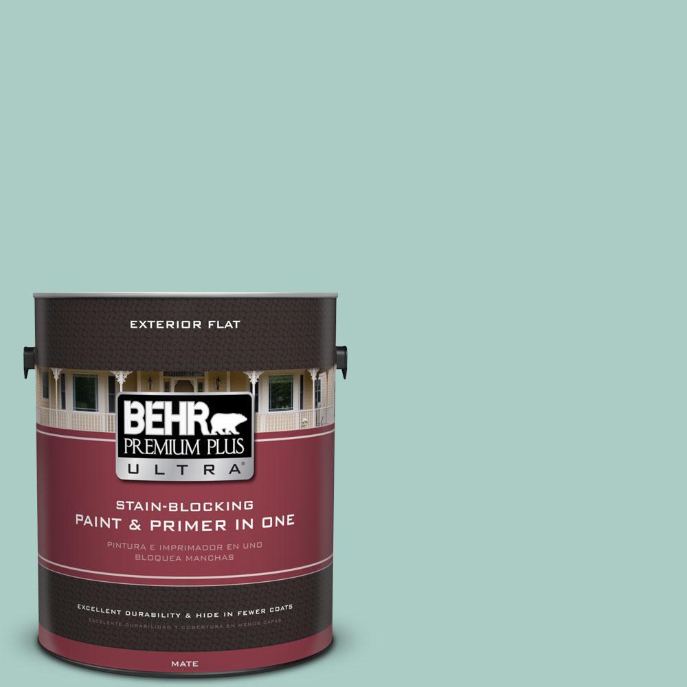 BEHR Premium Plus Ultra 1-gal. #M440-3 Baby Aqua Flat Exterior Paint