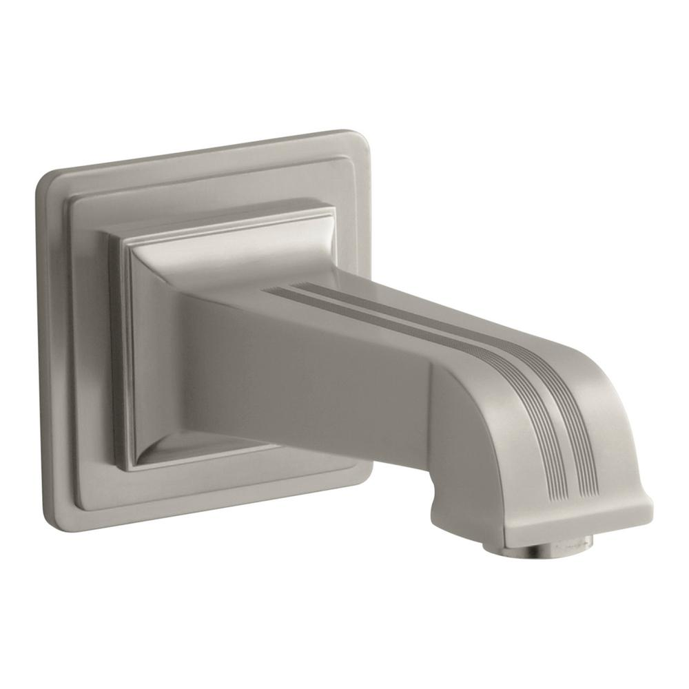 KOHLER Pinstripe Pure 6-7/8 in. Wall-Mount Non-Diverter Bath Spout in Brushed Nickel (Valve and Handles Not Included)