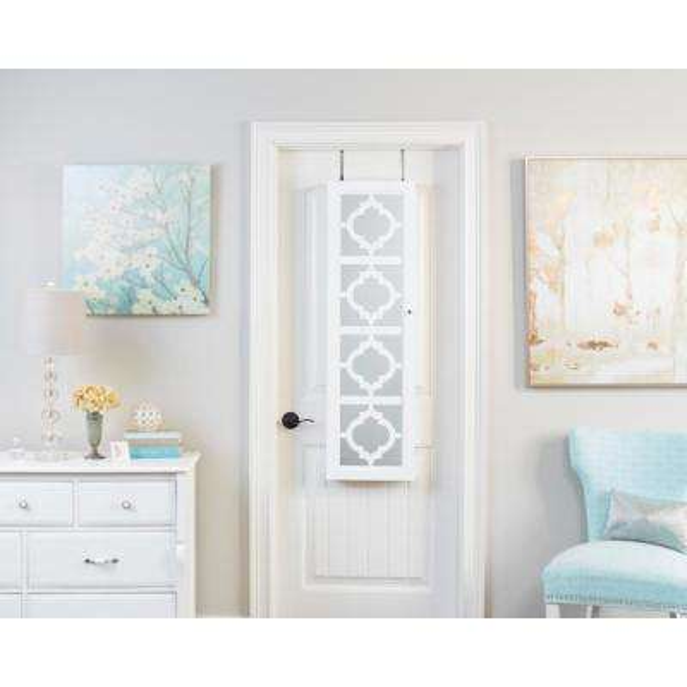 White Designer Jewelry Armoire with Decorative Mirror