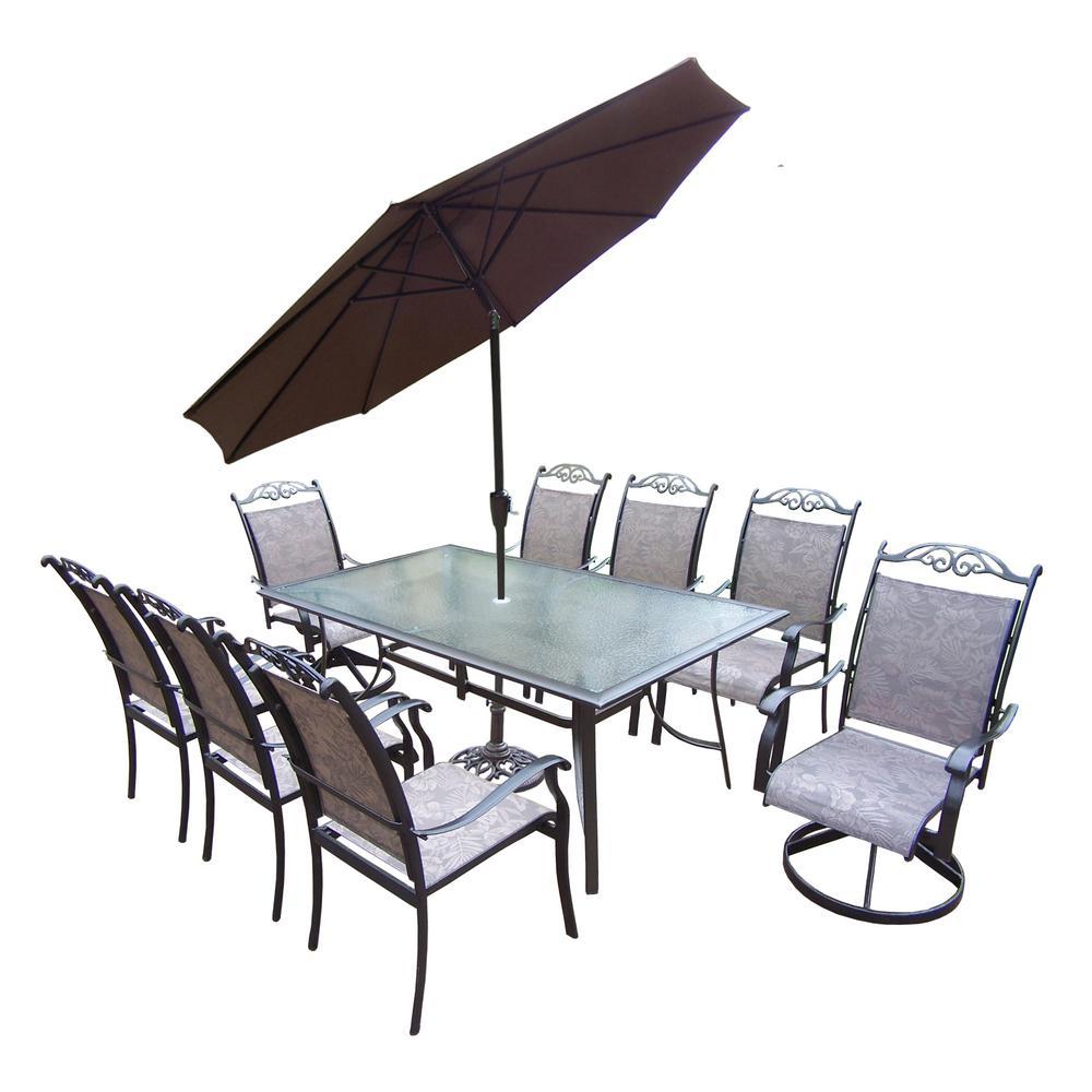 Coffee 11-Piece Aluminum Outdoor Dining Set and Brown Umbrella