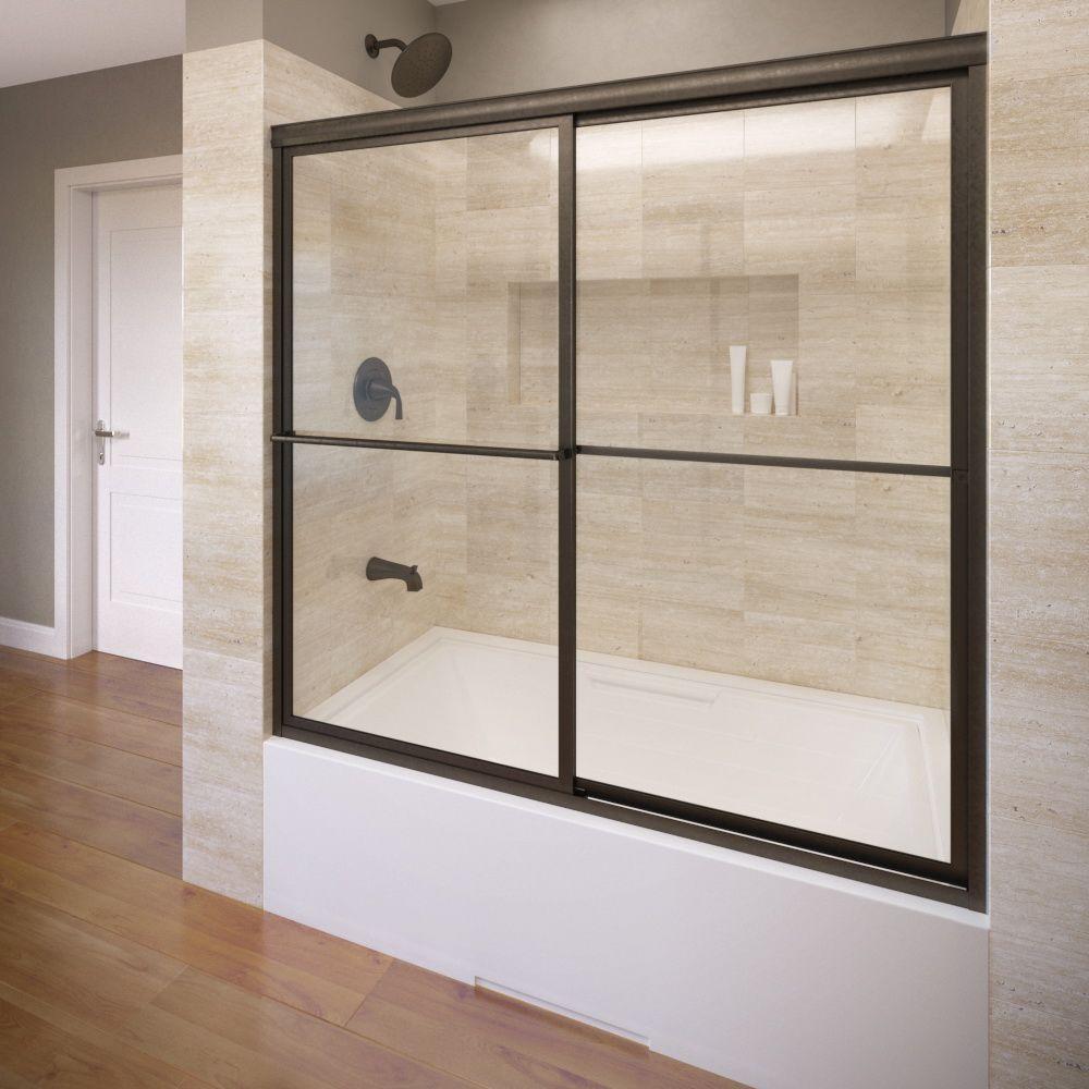 Basco Deluxe 59 in. x 58-1/2 in. Clear Framed Sliding Tub Door in Oil Rubbed Bronze