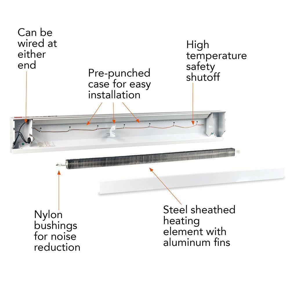 cadet 60 in 1250 watt 208 volt electric baseboard heater in white Cadet Heater Parts Breakdown
