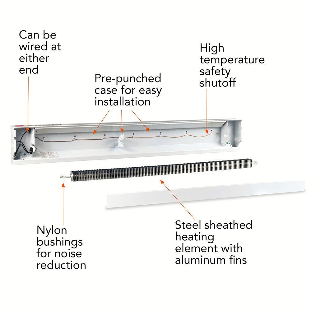 cadet 72 in 1500 watt 208 volt electric baseboard heater in white cadet wall heater wiring diagram multiple heaters just one thermostat?