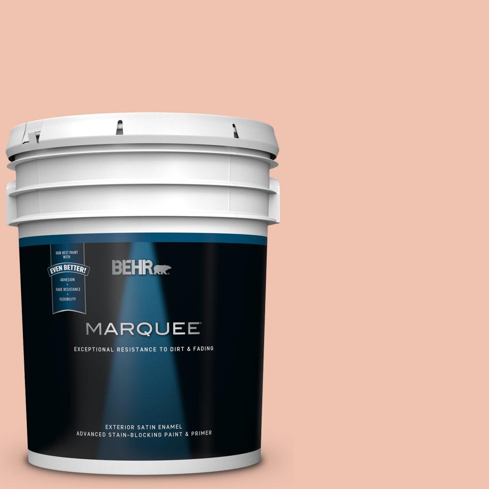 Behr Marquee 5 Gal M180 3 Flamingo Feather Satin Enamel Exterior Paint And Primer In One 945405 The Home Depot