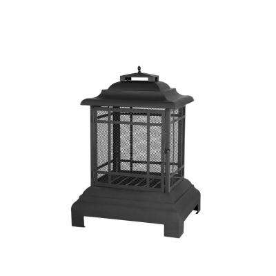 24.43 in. Black Steel Pagoda Outdoor Fireplace