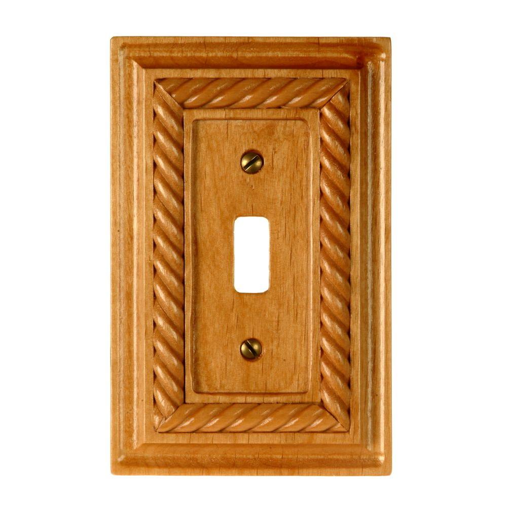 Amerelle Rope 1 Toggle Wall Plate - Light Oak