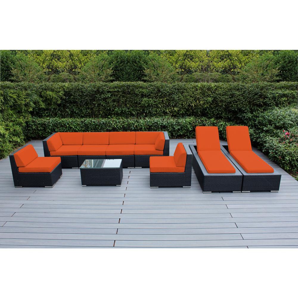 Black 9-Piece Wicker Patio Combo Conversation Set with Sunbrella Tuscan Cushions