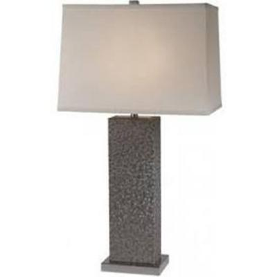 Merge 29.75 in, 1-Light Brushed Nickel And Pewter Table Lamp With Homespun Linen Shade