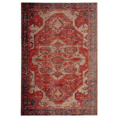 Polaris Red 8 ft. 10 in. x 12 ft. Medallion Rectangle Area Rug