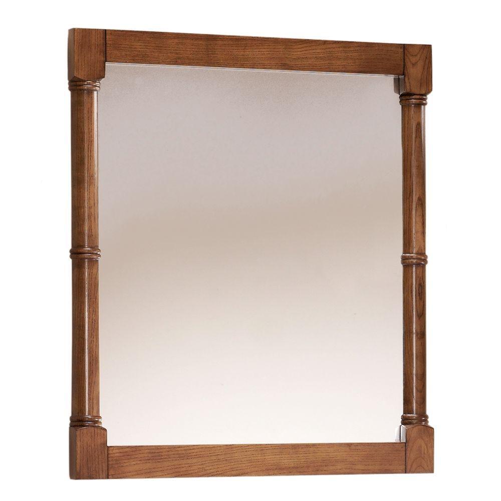 28 in. W x 32 in. H Framed Rectangular  Bathroom Vanity Mirror in weathered oak