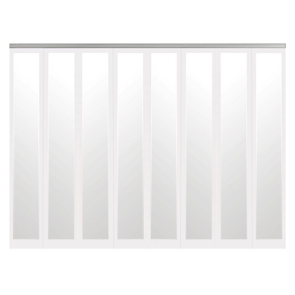 120 in. x 80 in. Mir-Mel White Mirror Solid Core MDF Full-Lite Interior Closet Wood Bi-Fold Door with Chrome Trim