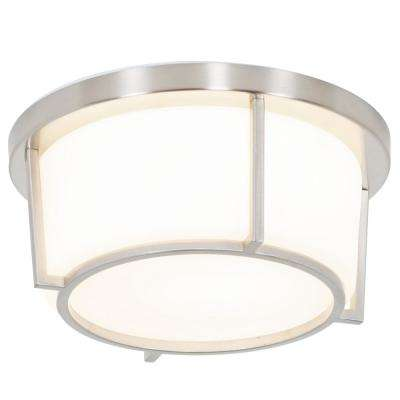 Smart 60-Watt Satin Nickel with Opal Glass Integrated LED Flushmount