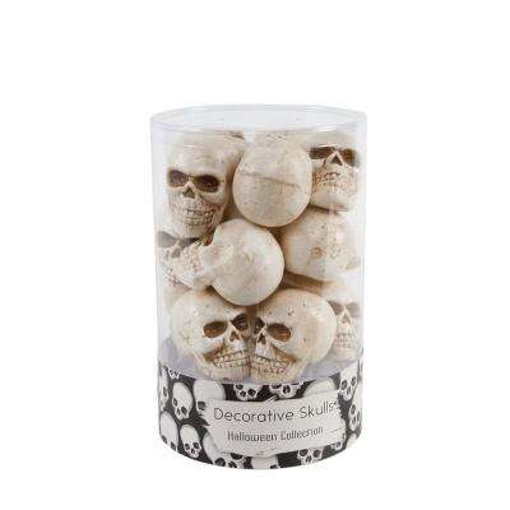3 in. Halloween Mini Natural Plastic Skulls Fillers in PVC Gift Box (12-Pices Per Box)