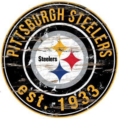 "24"" NFL Pittsburgh Steelers Round Distressed Sign"