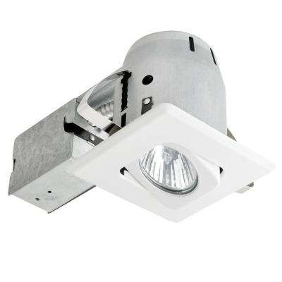 4 in. White Recessed Lighting Kit with Swivel, Square Shape and Spot Light