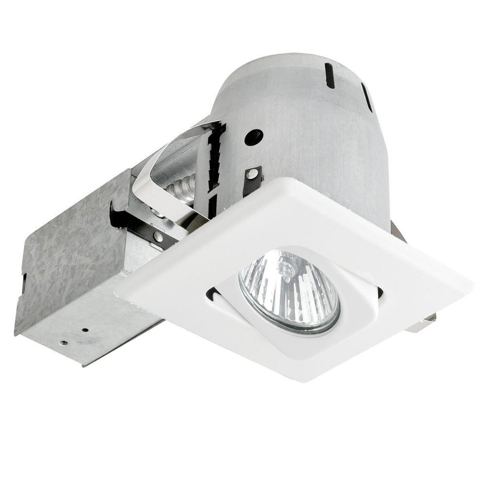 Globe electric 4 in white recessed lighting kit with swivel white recessed lighting kit with swivel square shape and spot aloadofball Images
