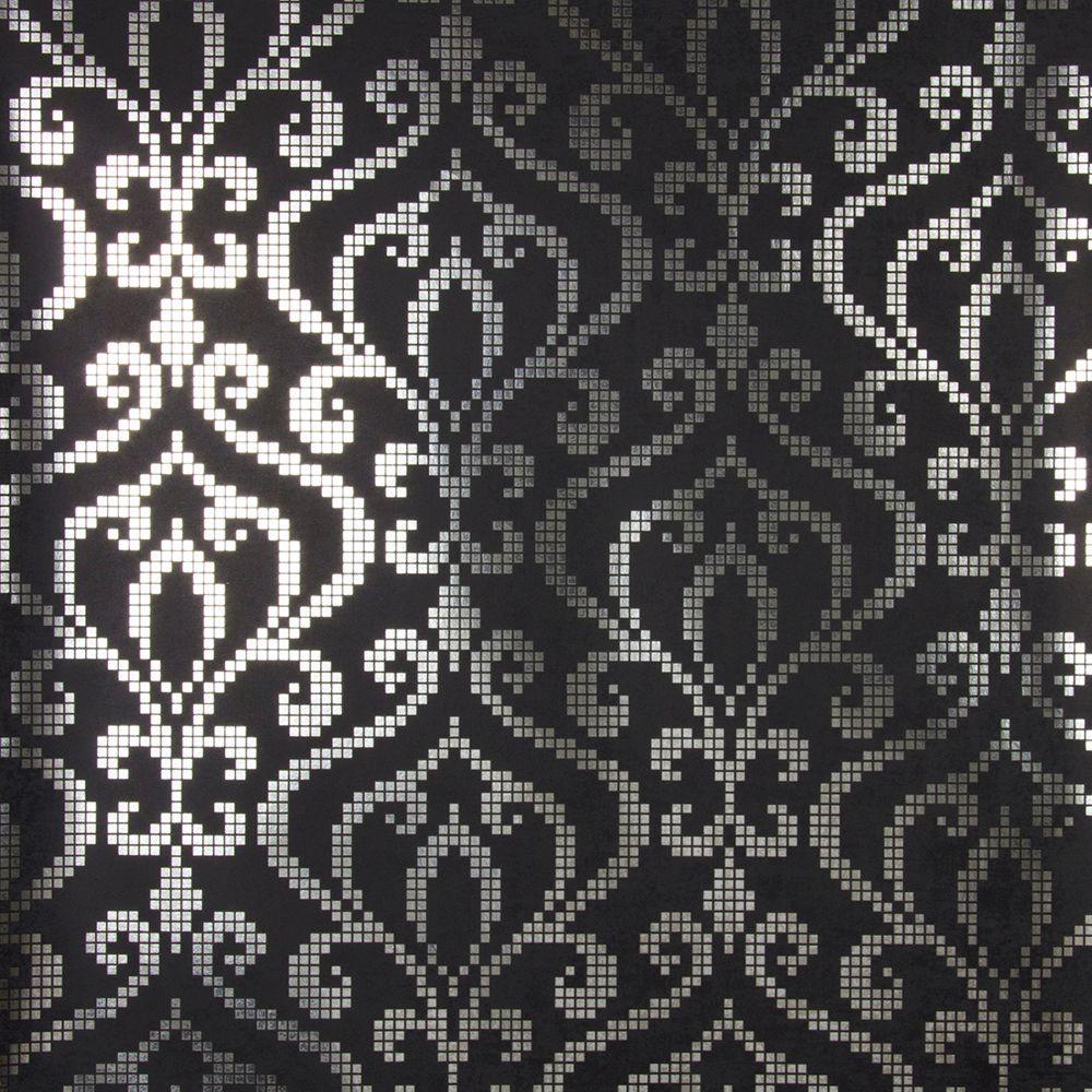 Venus Charcoal Foil Mini Damask Wallpaper