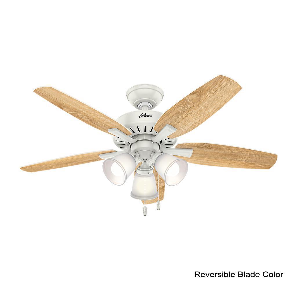 Oakfor 48 in. LED Indoor Fresh White Ceiling Fan with Light Kit
