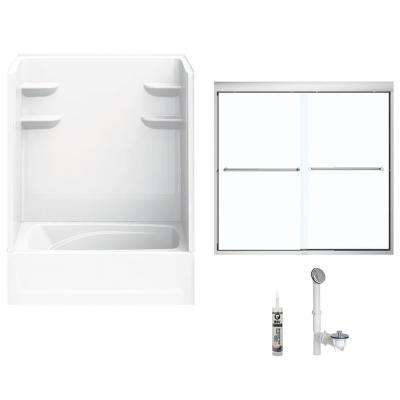 60 in. x 36 in. x 79 in. Bath and Shower Kit with Right-Hand Drain and Door in White and Chrome Hardware