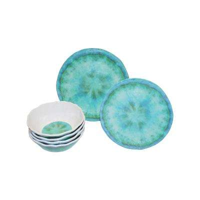 Fountain 12-Piece Casual Turquoise Melamine Outdoor Dinnerware Set (Service for 4)