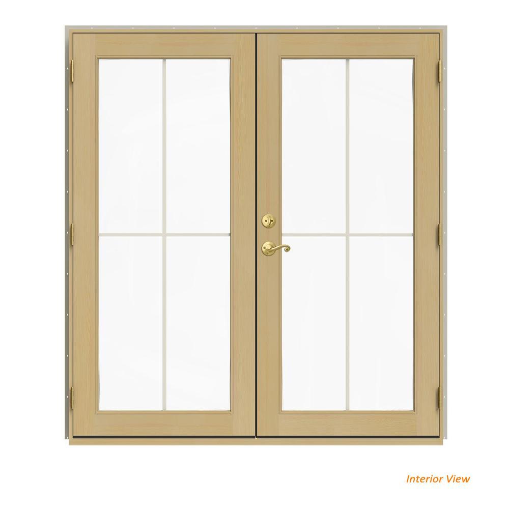 72 in. x 80 in. W-2500 Desert Sand Clad Wood Left-Hand 4 Lite French Patio Door w/Unfinished Interior