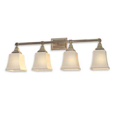 4-Light Distressed Bronze Sconce with White Frosted Glass Shades