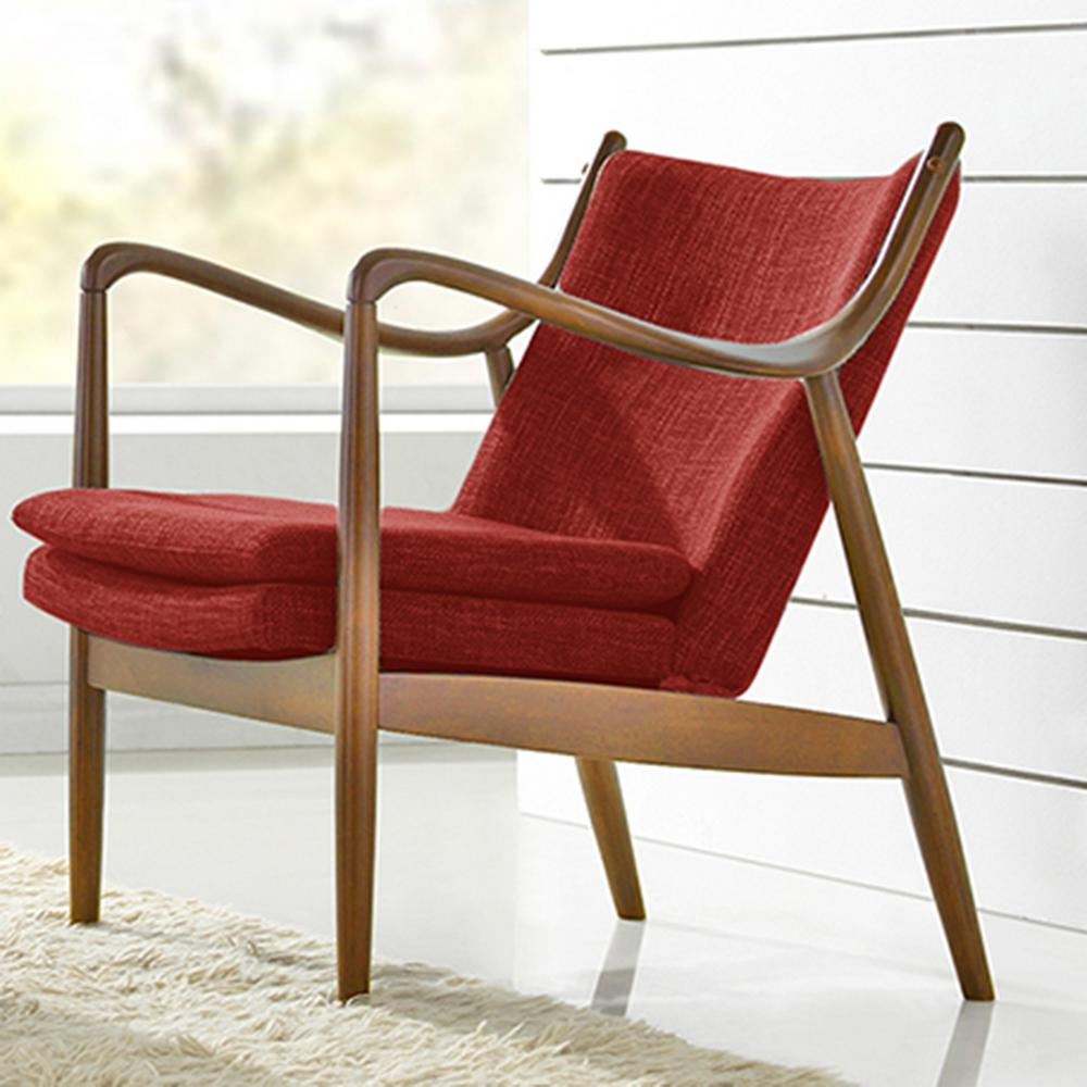 Baxton studio shakespeare mid century red fabric for Red and white upholstered chairs