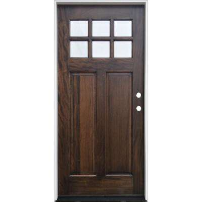 36 in. x 80 in. Espresso Left-Hand Inswing 6-Lite Clear  Mahogany Stained Wood Prehung Entry Door with Composite Jamb