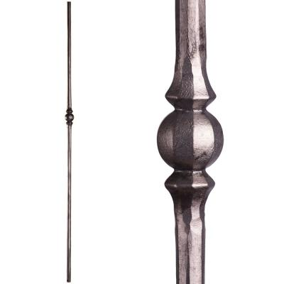 Tuscan Round Hammered 44 in. x 0.5625 in. Satin Clear Single Sphere Solid Wrought Iron Baluster