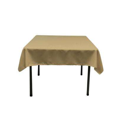 52 in. x 52 in. Taupe Polyester Poplin Square Tablecloth