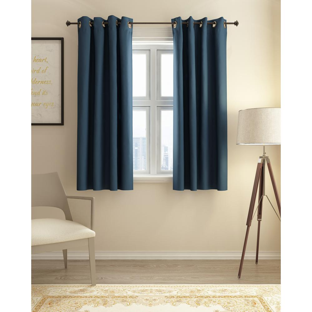 Furinno Collins Polyester Blackout Curtain in Dark Blue - 52 in. x 63 in.