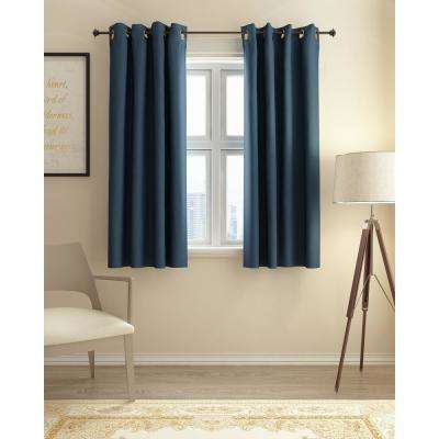Collins Polyester Blackout Curtain in Dark Blue - 52 in. x 63 in.