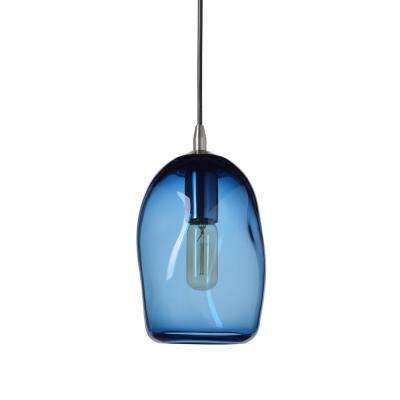6 in. W x 9 in. H 1-Light Silver Organic Contemporary Hand Blown Glass Pendant Light with Blue Glass Shade