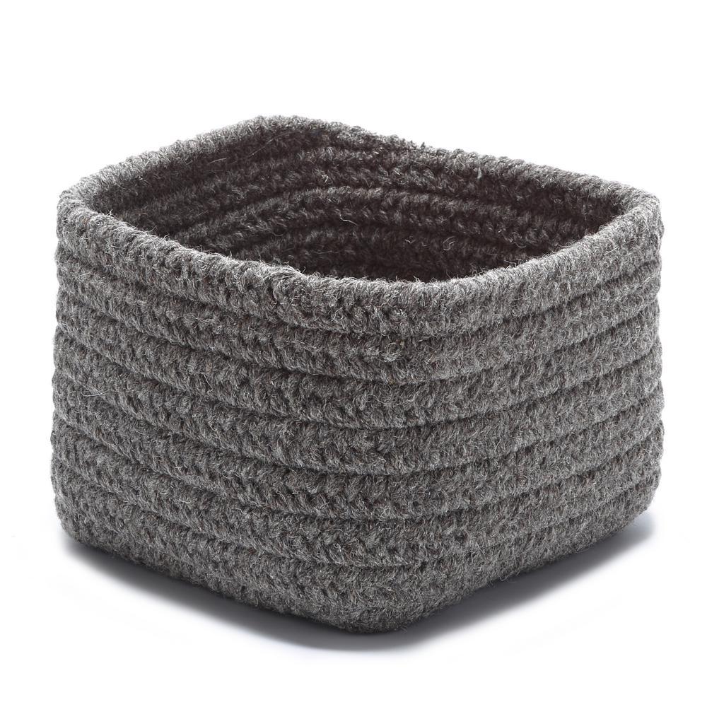 Natural 11 in. x 11 in. x 8 in. Wool Storage Basket in Dark Brown
