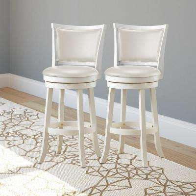 Woodgrove 29 in. White Wood Swivel Barstools with White Leatherette Seat and Backrest (Set of 2)