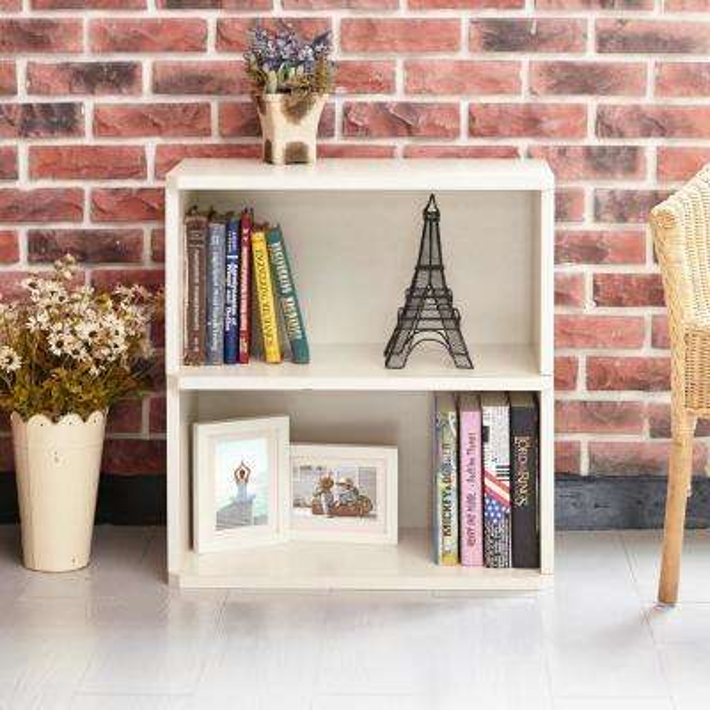Webster 2-Shelf White Eco zBoard Tool-Free Assembly Bookcase Storage Organizer